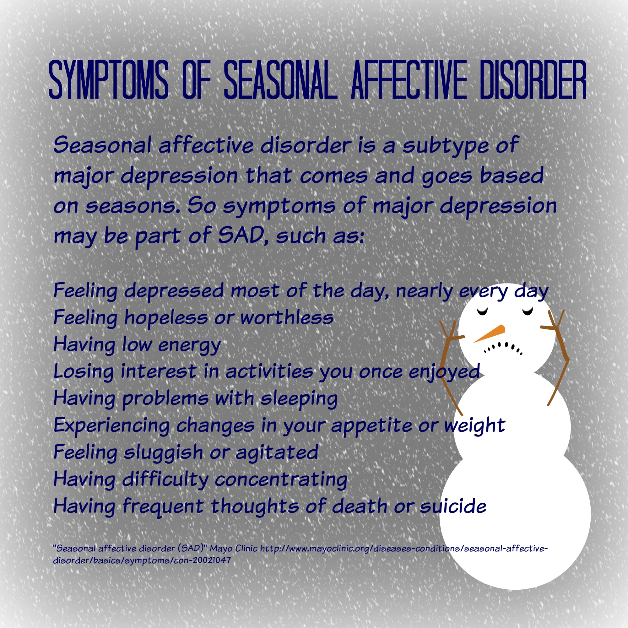 essay on seasonal affective disorder Seasonal affective disorder research paper it's wintertime, and you are gathered for the holidays with all of your family and friends everything se.